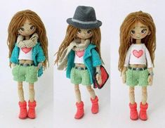 Amigurumi doll wearing a trilby hat and boots. Made by Mint Bunny ♡ Cute Crochet, Beautiful Crochet, Beautiful Dolls, Knit Crochet, Crochet Doll Clothes, Knitted Dolls, Crochet Dolls, Crochet Doll Pattern, Crochet Patterns