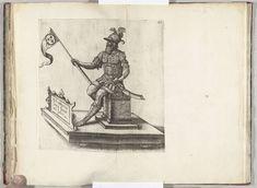 Anonymous | Praalwagen met de reus Antigoon op de Grote Markt, 1582, Anonymous, 1582 | Praalwagen met de reus Antigoon op de Grote Markt. Plaat XI in de beschrijving van de intocht van de hertog van Anjou te Antwerpen, 19 februari 1582.