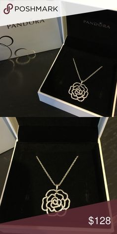 Pandora Shimmering Rose Necklace New never used comes with original box. You can change the length of the chain Pandora Jewelry Necklaces