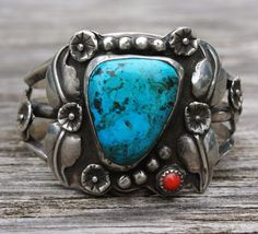NAVAJO NATIVE AMERICAN VINTAGE CUFF BRACELET STERLING SILVER TURQUOISE & CORAL