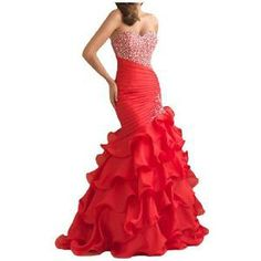 Gorgeous Bridal Organza Evening Dresses Prom Gowns Long With Pleats- US Size 20W Red | Find.com #prom #pageant #gown