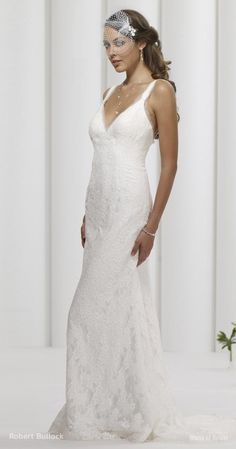 Lace and organza low back v-neck gown.