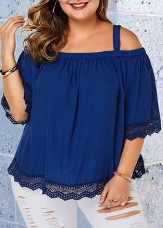 Plus Size Navy Blue Strappy Cold Shoulder Blouse Plus Size Clothing Stores, Plus Size T Shirts, Plus Size Blouses, Plus Size Tops, Curvy Fashion, Plus Size Fashion, Womens Fashion, Cold Shoulder Bluse, Navy Blue Blouse