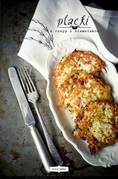 Turnip & Potato Fritters (By Krew i mleko) Vegetable Recipes, Vegetarian Recipes, Cooking Recipes, Galette, Fabulous Foods, Perfect Food, Soul Food, Food Inspiration, Food Photography