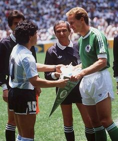 MEXICO CITY, MEXICO - JUNE 29: Diego Maradona and Karl-Heinz Rummenigge before the final at the FIFA World Cup 1986 in Mexico