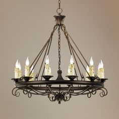 Rodeo Collection Round Twelve Light Chandelier | LampsPlus.com    ***DOWNSTAIRS OVER TABLE