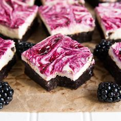 Blackberry Cheesecake Brownies  are almost too pretty to eat.
