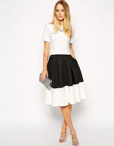 ASOS | ASOS Color Block Midi Skirt In Scuba at ASOS