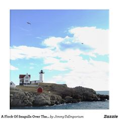 Want to see more great items for sale?  Visit my store: Jimmy T's Emporium!   (https://www.zazzle.com/jimmytsemporium   - Enjoy!) A Flock Of Seagulls Over The Nubble Lighthouse