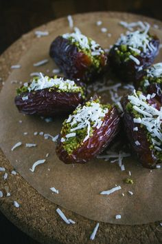 Pistachio-Stuffed Dates With Coconut (Simple Provisions) Coconut Recipes, Raw Food Recipes, Cooking Recipes, Healthy Recipes, Dessert Recipes, Healthy Sweets, Healthy Snacks, Healthy Eating, Date Recipes