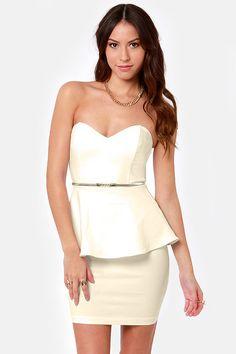 Wishy Posh-y Strapless Ivory Dress at LuLus.com!