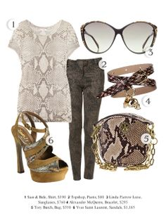I love snake skin print......!!!!!!!!!!!!! i would so mix the blouse and denim together only because its monotone scheme....sexy