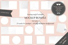 Greeting cards 5x5 - Mockup bundle by Pipple Designs on @creativemarket
