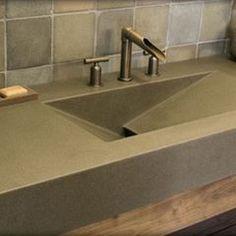 concrete countertop--modern bathroom Polished Concrete Sink