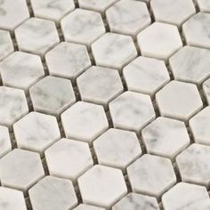 $10.95SF Carrara Hexagon Marble Mosaic Tile - Free Shipping