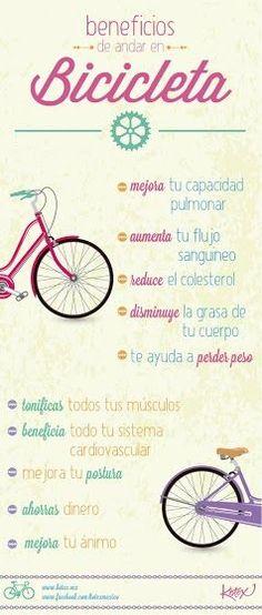 Son muchos los beneficios de andar en bici...¡anímate! #salud #ejercicio