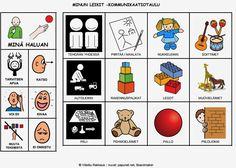 Lapsi voi valita taulun avulla mieleistään tekemistä eri leikkivaihtoehdoista.