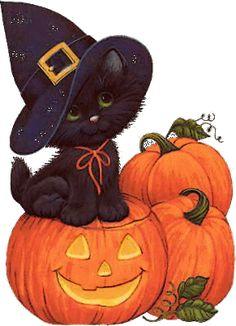 cute black kitty Halloween card ∞