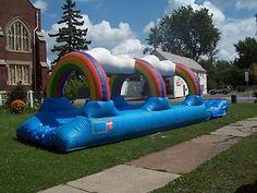 Swimming Pool Slide Rainbow Slip N Slide Inflatable Water Slide