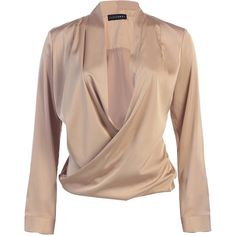 JLUXBASIX Gold Cross Draped Satin Blouse (2,115 DOP) ❤ liked on Polyvore featuring tops, blouses, shirts, long sleeve tops, gold satin blouse, beige long sleeve shirt, sexy tops, long sleeve blouse and gold blouse
