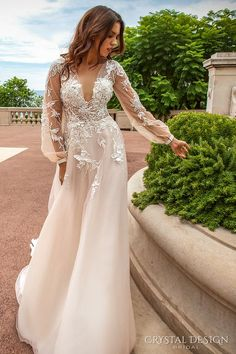 crystal design 2017 bridal long sleeves cuff bishop deep v neck heavily embellished bodice romantic a line wedding dress sheer back chapel train (alison) mv -- Crystal Design 2017 Wedding Dresses