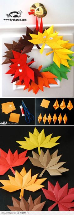 Autumn paper leaves (krokotak) is part of Autumn crafts Wreath Autumn leaves from paper to make a beautiful decoration or a wreath You will need 10 squares - Kids Crafts, Diy And Crafts, Craft Projects, Arts And Crafts, Paper Crafts, Craft Ideas, Paper Toys, Autumn Crafts, Autumn Art