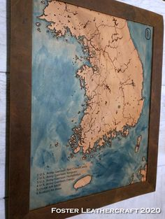 Korea Map, Scale Map, Unique Gifts, Best Gifts, Third Anniversary, Custom Map, Leather Craft, Hand Carved, Vintage World Maps