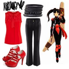 Inspired by Sango off of InuYasha... I would totally wear this outfit