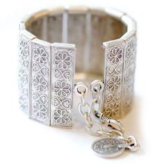 Ornate Silver Panel Cuff