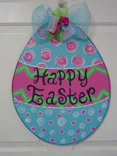Items similar to Large Easter Egg Door Hanger Happy Easter Blessings Blue Pink Green Wood Spring Decor Wood Wreath Customized Angelenes Collection on Etsy Easter Egg Crafts, Easter Art, Easter Eggs, Easter Decor, Easter Ideas, Easter Bunny, Easter Paintings, Wood Wreath, Door Hangers