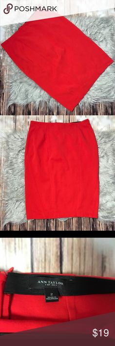 Red Ann Taylor Pencil Skirt So Cute And Professional! Red Pencil Skirt With Zipper Good Condition Closure In Back. Size 2, Has Just A Bit Of Stretch. Ann Taylor Skirts Pencil