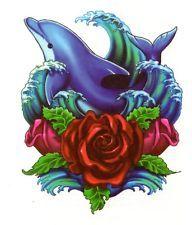 DOLPHIN-OCEAN-ROSE-TEMPORARY-TATTOO- | DOLPHIN OCEAN ROSE TEMPORARY TATTOO US SELLER WATER