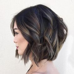 60 Layered Bob Styles: Modern Haircuts with Layers for Any Occasion Black Wavy Bob With Subtle Highlights Brown Balayage, Balayage Highlights, Balayage Hair, Short Balayage, Caramel Highlights, Partial Balayage, Haircolor, Layered Bob Hairstyles, Short Black Hairstyles