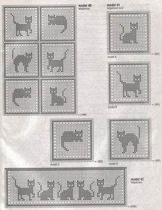 Cats Crochet Fillet Pattern.  Not in English but easy to graph out from images.  Paw Print Crochet Filet Pattern at bottom of page.