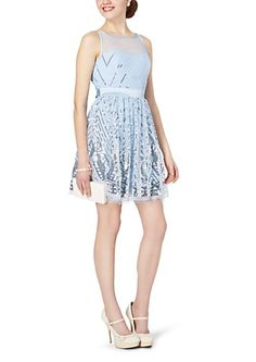 image of Chevron Sequined Mesh Tank Dress