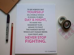Never Stop Fighting Typographic Letterpress Print by foxtrotpress, $15.00