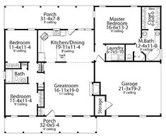 Floor Plans AFLFPW12016 - 1 Story Cape Cod Home with 3 Bedrooms, 2 Bathrooms and 1,492 total Square Feet