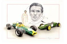 1961 LOTUS 21 & 1967 LOTUS 48 JIM CLARK NEW PAINTING PRINT PORTRAIT ART DUGAN A+ Lotus Car, Automotive Art, Indy Cars, Vintage Racing, Formula One, New Art, Cool Cars, Birthday Cards, Painting