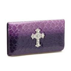 Patent Croco Embossed Checkbook Wallet with Rhinestoned Cross Accent | Overstock.com