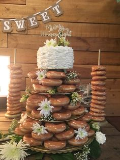 Donut Wedding Cake with regard to Trending 2020 - Wedding Ideas MakeIt Doughnut Wedding Cake, Wedding Donuts, Wedding Desserts, Wedding Cakes, Wedding Decorations, Krispy Kreme Wedding Cake, Donut Tower, Donut Bar, Diy Wedding