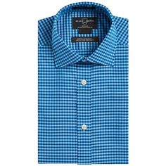 Black Brown 1826 Men's Fitted Gingham Dress Shirt ($41) ❤ liked on Polyvore featuring men's fashion, men's clothing, men's shirts, teal, mens gingham dress shirt, mens button down dress shirts, mens fitted dress shirts, mens short sleeve button up shirts and mens dress shirts