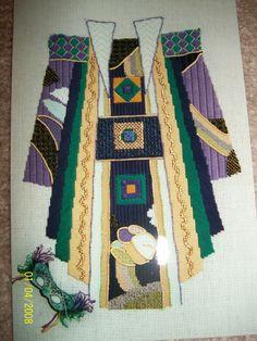 Handpainted Needlepoint canvas Emperor's Coat - Kimono Mardi Gras colors