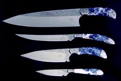 """""""Chef's Set"""" knife group, in hollow ground mirror polished 440C high chromium stainless steel blades, hand-engraved 304 stainless steel bolsters, scapolite in sodalite gemstone handles, stand of gemstone, rock maple, paduk hardwood"""