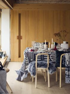 Woodnotes Siro oak chairs together with Marimekko winter prints and items 2016