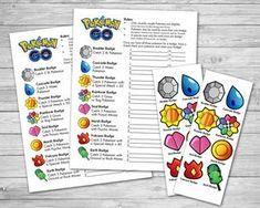 Pokemon Go Scavenger Hunt Badges Party Game - Pokémon Birthday Party - Yorgo Pokemon Go, Pokemon Craft, Pokemon Themed Party, Pokemon Birthday, Pokemon Easter, Adult Party Games, Birthday Party Games, 7th Birthday, Birthday Ideas