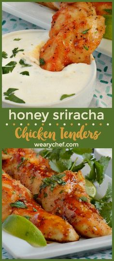 Honey Sriracha Chicken Tenders are a perfect family meal or game day snack. Serve them with homemade ranch for dipping! You'll love this quick and easy chicken recipe! Chicken Tender Recipes, Low Carb Chicken Recipes, Spicy Recipes, Appetizer Recipes, Dinner Recipes, Cooking Recipes, Healthy Recipes, Yummy Recipes, Dinner Ideas