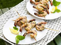 Fresh herbs and mustard are the key to Ina's fan-favorite shrimp skewers.