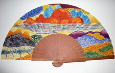 "Abanico de autor pintado a mano de la serie ""Paisajes imaginarios"" Gustav Klimt, Banksy, Hand Fan, Home Appliances, Paper, Painted Fan, Craft Art, Hand Fans, Draw"