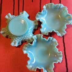 Aqua Fenton Hobnail Milk Glass Candy Dish Vintage 1955 Blue