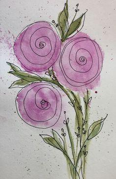 Rose art - New Deko Sites Watercolor And Ink, Watercolour Painting, Watercolor Flowers, Painting & Drawing, Watercolors, Watercolor Techniques, Art Techniques, Art Plastique, Doodle Art